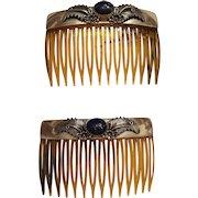 Vintage Peter Johnson Navajo Native American Sterling Silver Lapis Hair Combs