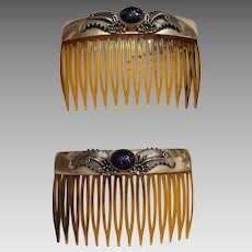 Vintage Peter Johnson Navajo Native American Sterling Silver Lapis Hair Combs