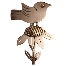 Vintage Sterling Silver Bird Perched On Sunflower Brooch