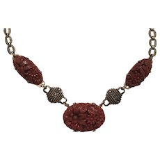Vintage Art Deco Sterling Silver Molded Red Floral Glass & Marcasite Necklace