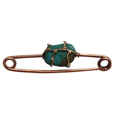 Antique 9k Yellow Gold Caged Turquoise Brooch