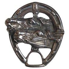 Vintage Sterling Silver Horse, Stirrup & Horseshoe Equestrian Brooch