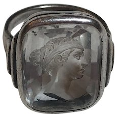Antique Sterling Silver Carved Rock Crystal Female Profile Intaglio Ring