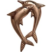 Vintage Mexican Sterling Silver Dolphin Brooch