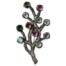 Vintage Van Dell Sterling Silver Rhinestone Tree Brooch