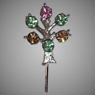 Vintage Anson Sterling Silver Rhinestone Tree of Life Stick Pin