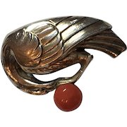 Vintage German Art Deco Theodor Fahrner 935 Sterling Silver & Coral Bird Brooch Germany