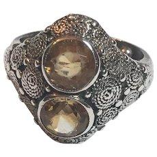 Vintage German Art Deco Theodor Fahrner Sterling Silver Golden Topaz Ring Germany