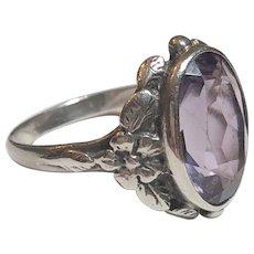 Vintage Sterling Silver & Amethyst Flower Floral Design Ring
