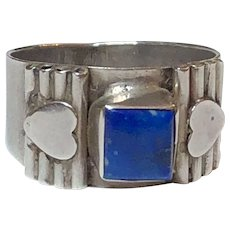 Vintage Sterling Silver Heart Lapis Ring