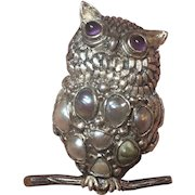 Vintage Carmen Beckmann Mexican Sterling Silver Amethyst & Pearl Owl Brooch Mexico
