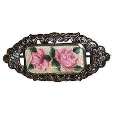 Vintage 835 Silver Rose Flower Enamel Brooch