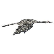 Large Vintage Art Deco Sterling Silver Paste Flying Goose Swan Brooch
