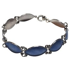 Vintage Volmer Bahner Danish Sterling Silver Blue Enamel Link Toggle Clasp Bracelet Denmark