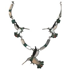 Vintage Native American Sterling Silver Inlaid Mother of Pearl, Turquoise, Onyx & Coral Hummingbird Necklace