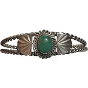 Vintage Native American Twisted Sterling Silver Turquoise Cuff Bracelet