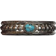 Vintage Native American Sterling Silver Turquoise Ball Bead Cuff Bracelet