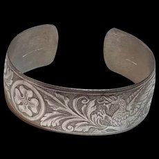 Vintage Danecraft Sterling Silver Dragon Griffith Cuff Bracelet