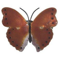 Vintage Sterling Silver Enamel Butterfly Brooch