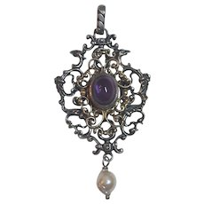 Vintage Sterling Silver & Gilded Silver Amethyst & Cultured Pearl Drop Pendant