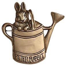 Vintage 1990 Hand & Hammer Peter Rabbit Sterling Silver Watering Can Brooch