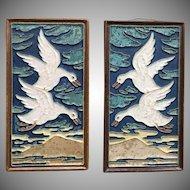 Pair of Vintage Delft Porceleyne Fles Flying Goose Geese Tiles