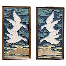 Pair of Vintage Delft Porceleyne Fles Flying Goose Geese Tiles