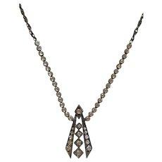 Vintage 935 Sterling Silver Paste Necklace