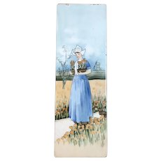 Vintage Hand Painted Dutch Woman With Tulips Tile By The American Encaustic Tile Company