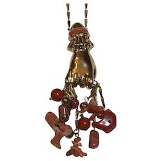 Vintage Bozart Victorian Style Enamel Hand Fist Holding Coral Branch & Faux Coral Beads Gold Tone Necklace