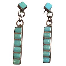 Vintage Native American Sterling Silver Channel Inlaid Turquoise Dangle Earrings