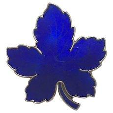 Vintage Danish Meka Sterling Silver Gilt Blue Enamel Leaf Brooch Denmark