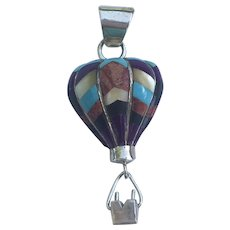 Vintage Native American Sterling Silver Inlaid Turquoise, Sugilite, Sponge Coral, Onyx, & Mother of Pearl Hot Air Balloon Pendant