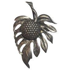 Vintage Guglielmo Cini For Gump's Sterling Silver Breadfruit Leaf Brooch