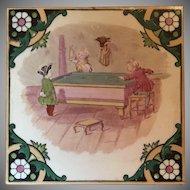 "Antique Victorian Minton Polychrome Tile ""Children's Game Series"" Billiards"