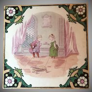 """Antique Victorian Minton Polychrome Tile """"Children's Game Series"""" Courting Couple"""