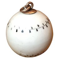 Antique Painted Porcelain Baseball Gold Filled Charm Fob