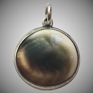 Vintage Sterling Silver Operculum Shell Pendant