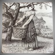 Antique Victorian Minton William Wise Tile - Girl With Basket of Apples