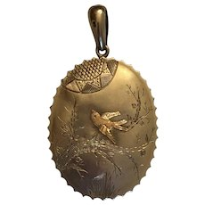Antique Victorian Aesthetic Movement Bird, Branches, & Sun Sterling Silver & Gold Overlay Locket Pendant