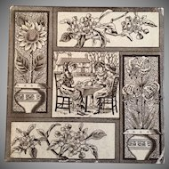 Antique Victorian 1881 Aesthetic Movement Tile Tea Party & Flowers Kate Greenaway