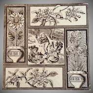 Antique Victorian 1881 Aesthetic Movement Tile Picnic & Flowers Kate Greenaway