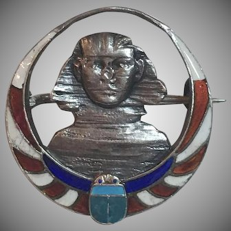 Vintage German Art Deco Meyle & Mayer Egyptian Revival Sterling Silver Enamel Sphinx & Scarab Brooch Germany