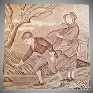 Antique Victorian Wedgwood March Month Tile