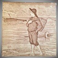 Antique Victorian Wedgwood November Month Tile