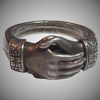 Vintage Samuel Kalina Sterling Silver Fede Gimmel Clasped Hands Ring