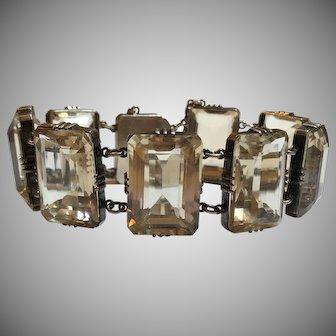 Vintage Sterling Silver Gilt Pale Yellow Quartz Bracelet