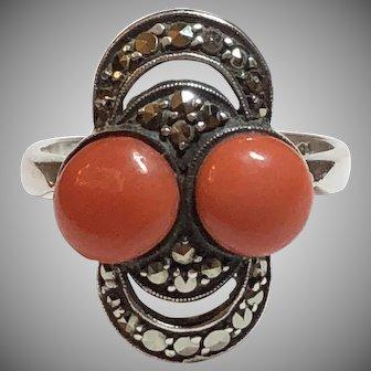 Vintage German Art Deco Theodor Fahrner 935 Sterling Silver Marcasite & Coral Ring Germany