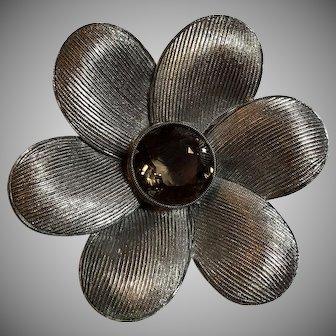 Vintage German Art Deco Theodor Fahrner Sterling Silver & Smoky Quartz Flower Brooch Germany
