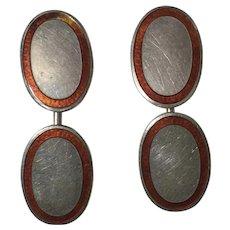 Vintage German Art Deco Hermann & Speck 900 Silver Red Enamel Guilloche Cufflinks Depose